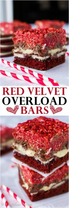 """Triple the red velvet which meanstriple the temptation in these Red Velvet Overload Bars! When people ask me why I never went to culinary school, I usually give them one of three reasons. A)It's hella expensive. 2) Pffft…Iwas BORNa culinary prodigy, Helloooo!!! or D)I've never really fit into the mold of a fancy schmancy """"classically-trained chef"""". Probably because I never...         Read More"""