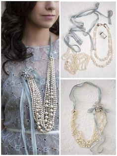 DIY: Ribbon, Brooch, Faux Pearls, and you have yourself a gorgeous necklace