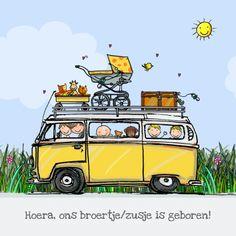 geboortekaart met gele VW T2 bus