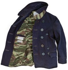 The MF® Caban Peacoat 'designed' in California, manufactured in Japan. Denim Blouse, Denim Jeans, Blue Jeans, Party Jackets, Camo Colors, T Dress, Military Jacket, Pea Coat, Man Stuff