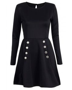Black Long Sleeved Skater Dress with Buttons<br/><div class='zoom-vendor-name'>By <a href=http://www.ustrendy.com/MYOFashion>MYO Fashion</a></div>