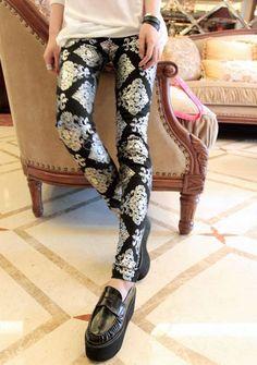 Black Pattern Print Sexy Leggings Pants Tights