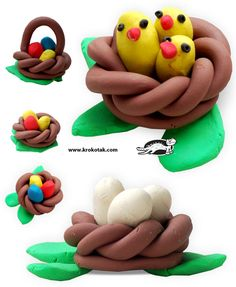 use playdough to sculpt the boys each an easter basket and let it dry