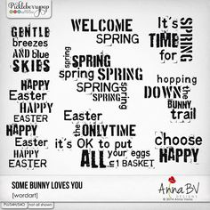 Some Bunny Loves You wordart by Anna BV Designs Happy Spring, Spring Time, Some Bunny Loves You, Happy Easter, Digital Scrapbooking, Anna, Love You, Collections, Math