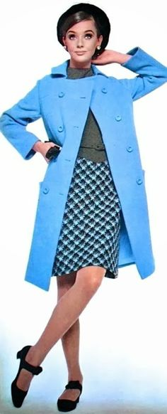 Ina Balke by Rico Puhlmann, 1966 fashion style color photo print ad model magazine 60s outfit coat jacket skirt shirt blouse shoes hat blue checks black