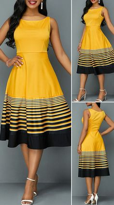 Sleeveless Stripe Print High Waist Dress HOT SALES beautiful dresses, pretty dresses, holiday fashion, dresses out Dresses Elegant, Pretty Dresses, Sexy Dresses, Beautiful Dresses, Dress Outfits, Casual Dresses, Short Dresses, Fashion Outfits, Fashion Fashion