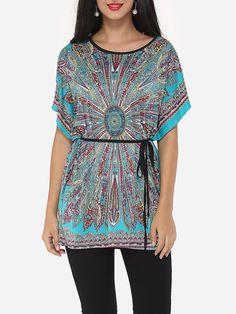 Paisley Printed Batwing Bowknot Glamorous Round Neck Short-sleeve-t-shirt – Sale…