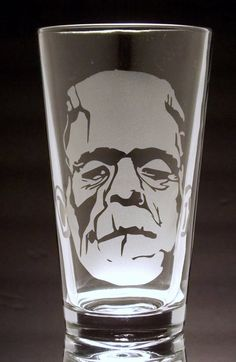 Frankenstein Etched Pint Glass by CyberGlassware on Etsy, $12.00