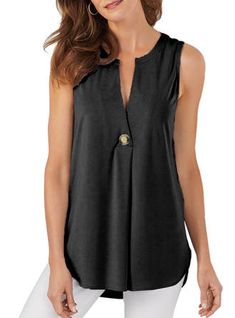 VERYVOGA Solid V Neck Sleeveless Button Up Casual Tank Tops