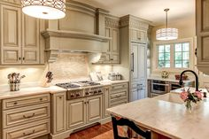 """Kitchen - traditional - kitchen - louisville - by Wolford Building & Remodeling. - Benjamin Moore's """"smoke"""" with expresso glaze"""