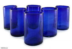 NOVICA Artisan Crafted Cobalt Blue Hand Blown Recycled Glass Cocktail Glasses 'Solid Blue' (set of Blue Drinking Glasses, Bohemian Kitchen, Cobalt Glass, Recycled Glass, Hand Blown Glass, Drinkware, Recycling, Pure Products, Tableware
