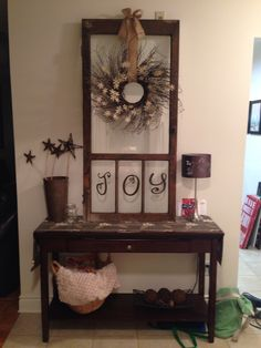 old window decorated for Christmas! Old window, Christmas wreath, joy letters Window Frame Crafts, Old Window Projects, Window Frames, Window Ideas, Vintage Windows, Old Windows, Vinyl Windows, Antique Windows, Christmas Wreaths