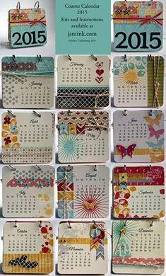 2015 Coaster Calendar Kits for Sale! Mini Scrapbook Albums, Scrapbook Paper, Scrapbooking, Calendar Ideas, Flip Calendar, Calendar Time, Calendar Design, Paperclip Crafts, Perpetual Birthday Calendar
