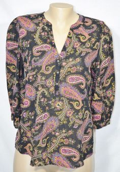 LUCKY BRAND Black Paisley Print Tunic Top Medium 3/4 Sleeves 100% Cotton Unlined #LuckyBrand #Tunic #Casual