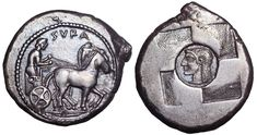 Sicily, Syracuse AR Tetradrachm. First Democracy, circa 510-490 BC. Charioteer, holding kentron and reins, driving walking quadriga right; ΣΥRΑ above / Quadripartite incuse square, with circular incuse in centre containing diademed head of Arethusa to left. Boehringer 28; SNG Lloyd 1277. 17.09g, 29mm, 9h. Near Extremely Fine. Extremely Rare. From the Comery Collection.
