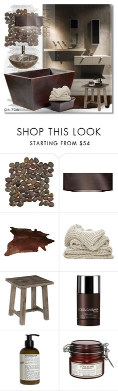 """Brown Bathroom ... 2016  Mood Board"" by greta-martin ❤ liked on Polyvore featuring interior, interiors, interior design, home, home decor, interior decorating, SomerTile, WALL, Dolce&Gabbana and Le Labo"