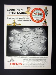 Fire-King Glass Ovenware Ad 1955