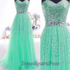 2016 sparkly green tulle long prom dress for teens #coniefox #2016prom
