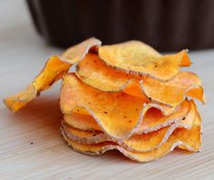 Sweet Potato Chips made in the microwave. Yum!