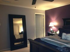 Master Bedroom Gray this deep purple accent wall+grey walls is close to what i have in