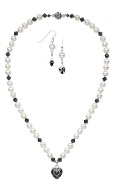 Jewelry Design - Single-Strand Necklace and Earring Set with Swarovski Crystal Beads and Cultured Freshwater Pearls - Fire Mountain Gems and Beads