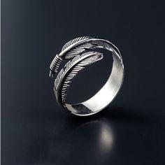 Retro Feather Ring, Silver, Boho, gift ideas