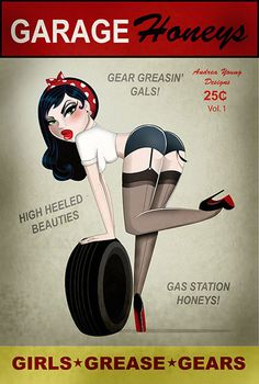 Garage Honeys 1 by Andrea Young Pin Up Girl Retro Canvas Art Print garage honeys 1 by andrea young sexy pin up girl retro tattoo canvas art print rockabilly poster picture mechanic hot-rod Tattoo App, Vintage Ads, Vintage Posters, Pin Up Girl Tattoo, Etiquette Vintage, Pin Up Posters, Garage Art, Garage Signs, Retro Pin Up