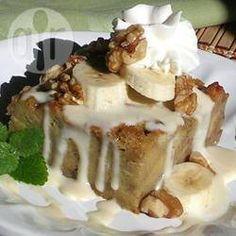 Foto recept: Broodpudding met banaan en walnoot