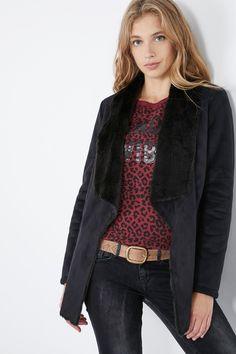 Venda Pepe Jeans / 28240 / Mulher / Casacos, sobretudos e blusões / Sobretudo com efeito nobuck Preto