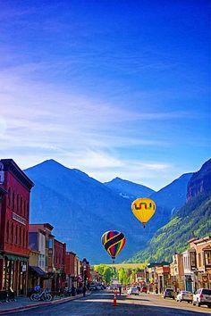 Hot Air Balloons in Telluride, Colorado. Air Ballon, Hot Air Balloon, Desktop Backgrounds, Wallpapers, Balloon Rides, Balloons Photography, Telluride Colorado, Rocky Mountains, Us Destinations