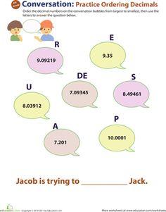 Fourth Grade Decimals Worksheets: Decimal Dash: Practice Ordering Decimals #8