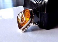 BOLD roped Mid Century Modernist Sterling Silver 925 Baltic Amber Size 9 Ring #Studio #Abstract