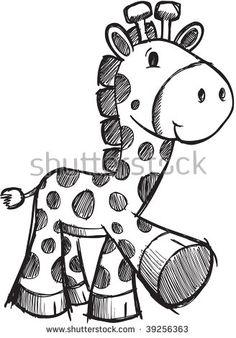 Doodle Sketchy giraffe Vector