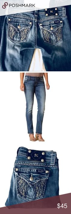 """Miss Me Straight Leg Distressed Jean Wing Pocket I'm so torn about giving these up! They are amazing jeans. I just don't wear them enough. The wash is perfectly distressed. You can totally dress these up or down! No defects. Minor distressing throughout, which was done on purpose. All jewels and embellishments are intact. 33"""" inseam. Second photo is of a similar jean; it's for style/fit reference only. Miss Me Jeans Straight Leg"""