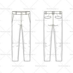 Men's Trousers Fashion Flat Template