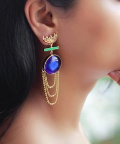 Brook Indigo earrings by Ikroop The statement earring is a part of the kaleidoscope - Coloured collection which is created using colourful glass. #FusedGlass #handcrafted studio Ikroop, The renowned glass art technique of  Murano, Venice is married with Indian karigari (craftsmanship) to create jewelry All pieces are handcrafted in our studio. Visit our online shop to know more http://www.ikroop.in