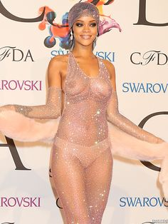 Rihanna See through CFDA Dress | Rihanna-Nipples-Under-a-See-Through-Dress-at-the-2014-CFDA-Fashion ...