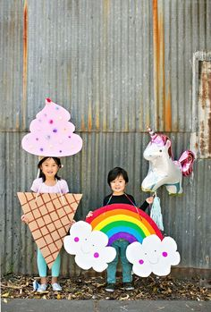 DIY Happy Rainbow and Ice Cream Cardboard Costumes. Cute and Easy Halloween costumes for kids.