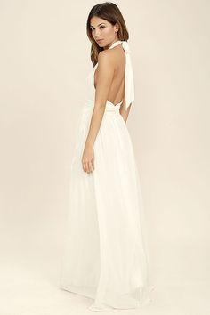 Ivory halter cocktail dress