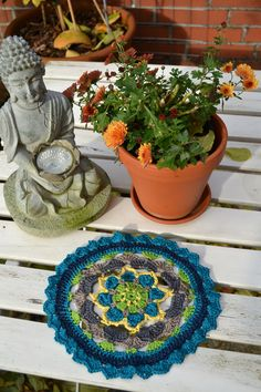 Tischdecken - Mandala Wandbild Deko bunt - ein Designerstück von wollkaethe bei DaWanda