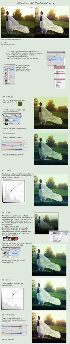 photo edit tutorial - 7 by `night-fate on deviantART    Several photo editing tutorials on their website.