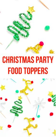 DIY Christmas Party Food Toppers using shiny pipe cleaners (chenille stems). Christmas Food Gifts, Christmas Activities, Christmas Projects, Kids Christmas, Christmas Decorations, Christmas Cookies, Holiday Crafts, Holiday Ideas, Merry Christmas