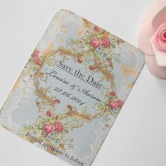 10 x Vintage Style Save the Date Cards  - Rhapsody in Blue  (Ref 110) £4.00