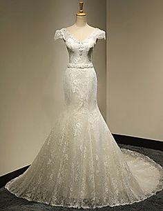 Trumpet/Mermaid V-neck Cathedral Train Wedding Dress