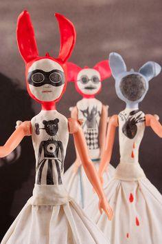 RESERVED for Pauline Clay Art Doll Ines SALE por DoubleFoxStudio