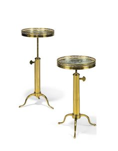 I think... A MUST HAVE... A Pair of Telescopic Lacquered Brass & Verde Antico Marble Tripod Occasional Tables; probably supplied by Maison Toulouse - Dim: 31 in. (79 cm.) high; 12º in. (31 cm.) diameter, extended (2)