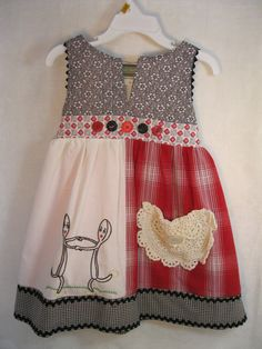 Vintage linens, flour sack towel embroidery and coordinating prints create a charming retro inspired 3T dress. Four panel skirt softly gathered
