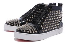 Mens Christian Louboutin Spike Leather Studs Flat Sneakers