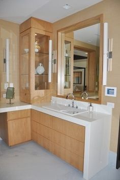 This two person roman shower with steam unit provides for L shaped bathroom vanity for sale