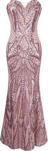 Angel-fashions Women's Notched Strapless Paillette Column Sheath Prom Dress…